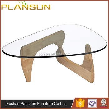 Replica Living Room Furniture Glass Top Triangle Wood Base Tokyo Coffee  Table