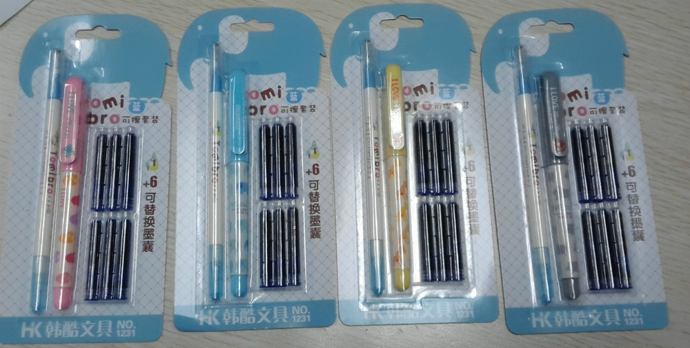 Cheap Chinese plastic fountain pen with ink cartridge or pump from Qingdao, China