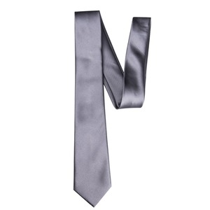 HH-009 Chinese Manufactures 6cm Width Korea Silk Gray Mens Solid Color Skinny Tie