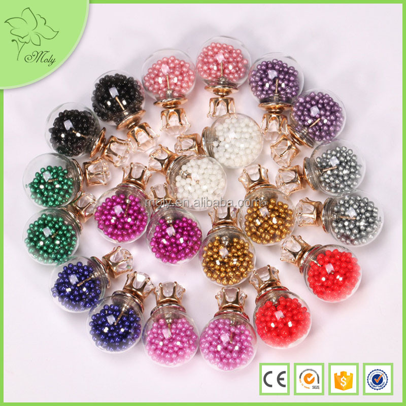 China Top Ten Selling Products Transparent Glass Ball Earrings, 2015 Earring Jewelry Fashion