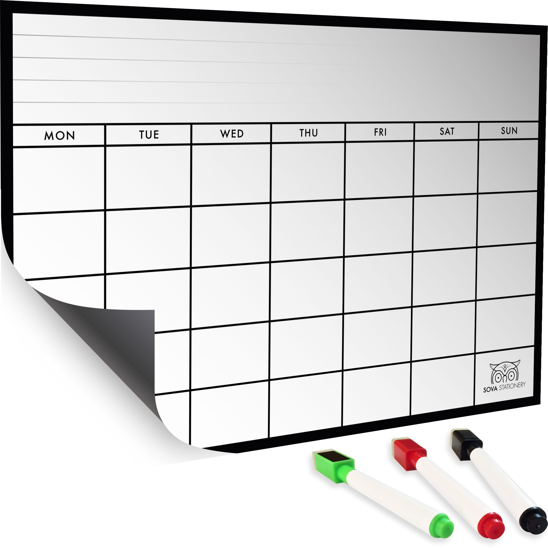 Includes 4 Color Markers with Built-in Erasers. Perfect Magnetic Menu Board,Weekly Meal Planner and Grocery List Notepad for Refrigerator,16.5X12 Dry Erase Board