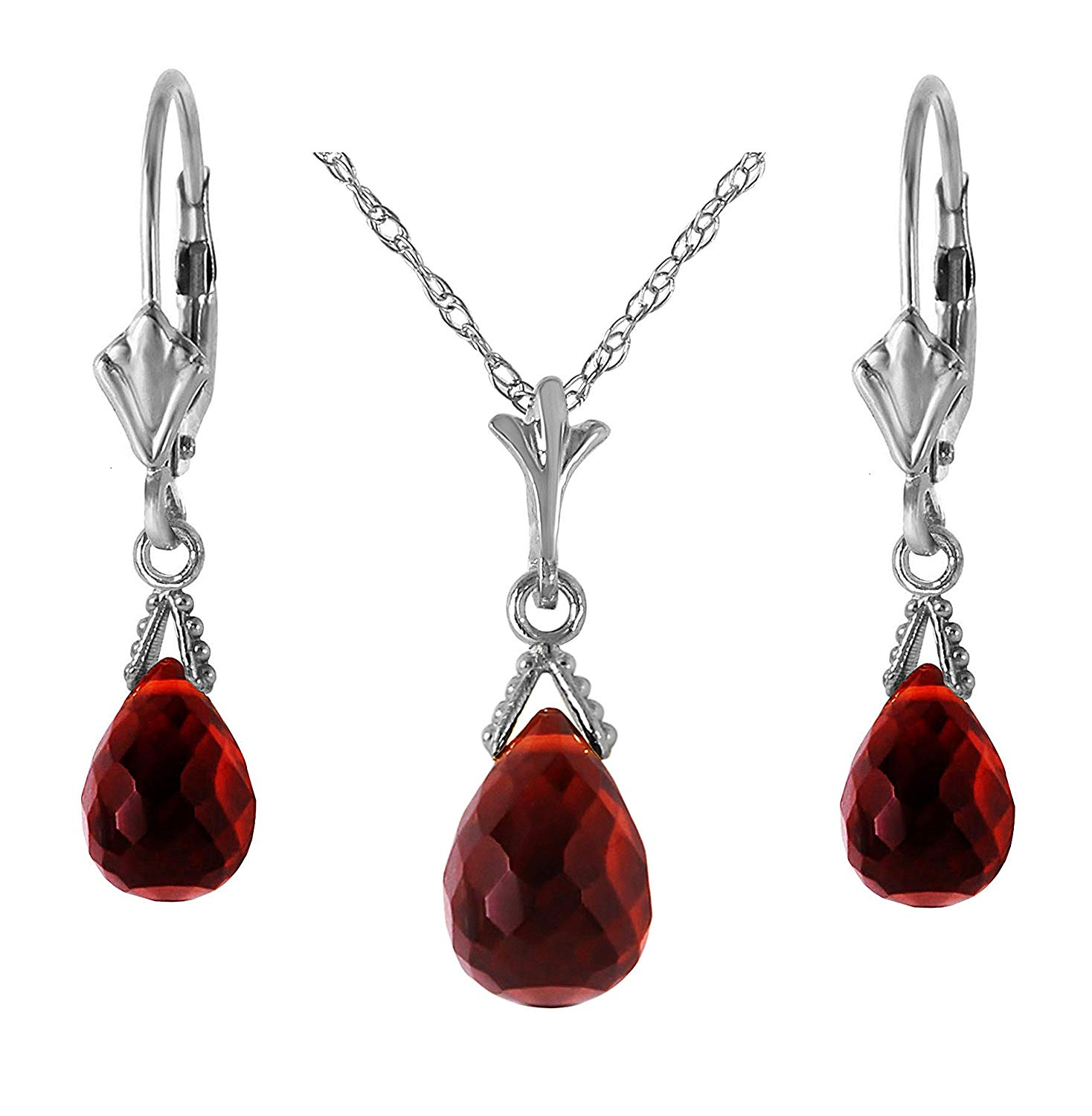 ALARRI 14K Solid Rose Gold Heart Necklace w// Dangling Natural Garnet with 22 Inch Chain Length