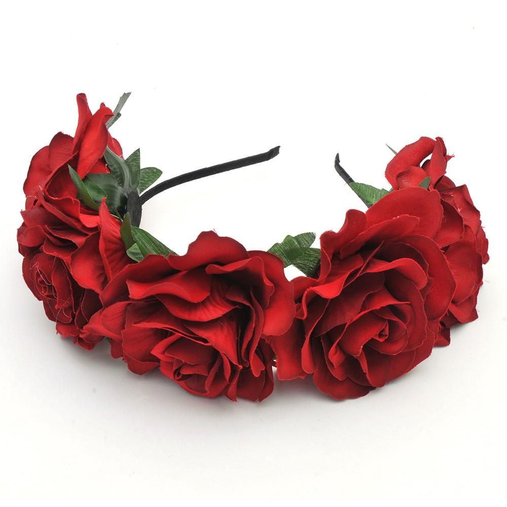 Queena 18 Color Handmade Floral Crown Charming Rose Flower Headband
