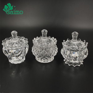 Wedding Ggift Decorative Candy Dishes Clear Crystal Glass Candle Jar With Glass Lid