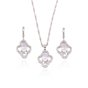 63420 Xuping 2018 Hot sale rhodium plated synthetic zircon fashion women's Jewelry Set