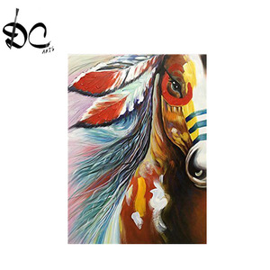 Native Indian Horse oil painting for Home Decorative Canvas Wall Art