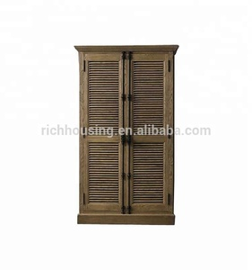 Oak Wood Bookcase with Shutters