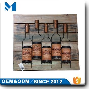 Wooden Myeegm Natural Circle Gold Metal Wall Artmetal Wine Bottle