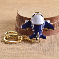 Hot Fashion High Grade Airplane Model Keychain Rhinestone Shining Key Ring Wholesale