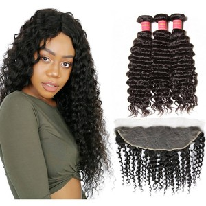 Best Selling Natural 100% virgin remy human hair frontal lace closure with bundles