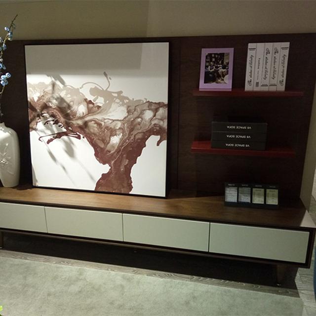 2017 Modern Simple TV Stand Walnut Wood Veneer Cabinet