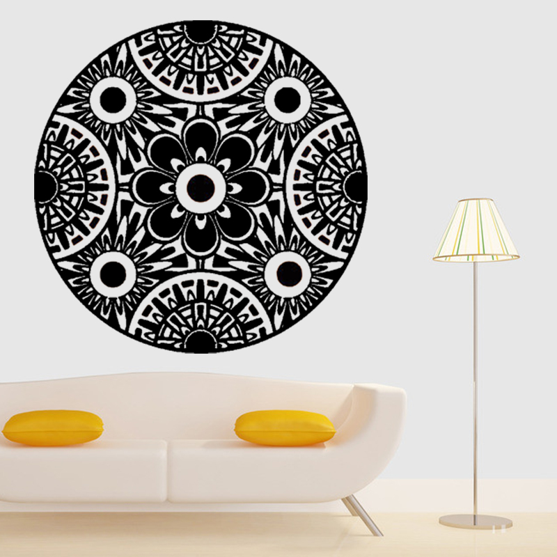 6022 promotion mandala wall sticker floral mural buddha home decal ornament indian lotus room decal vinyl creative home decor