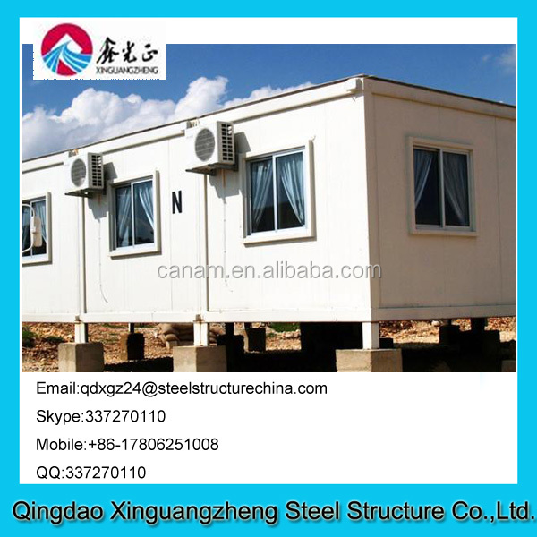 Environment friendly flat pack container house for refugee camp