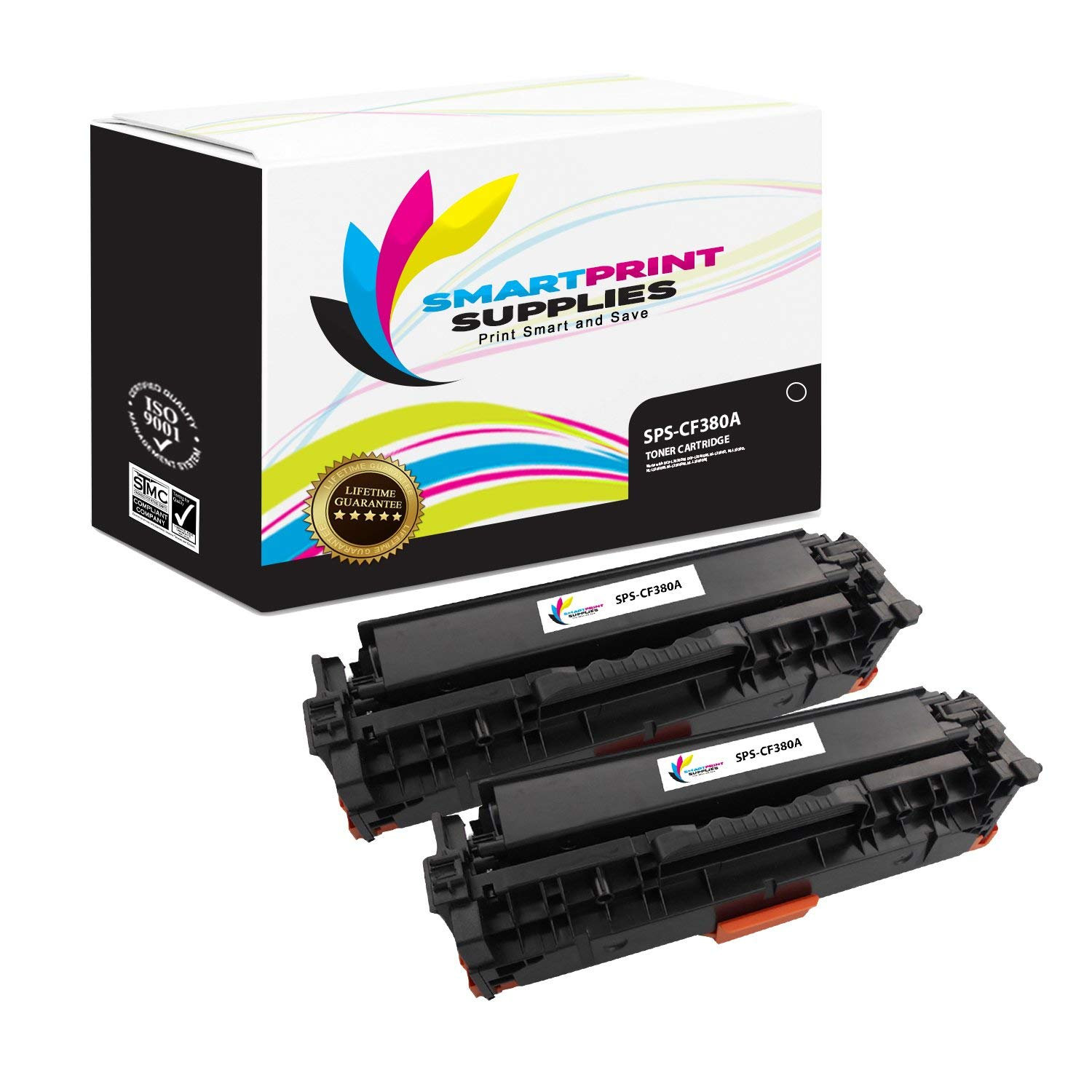 Smart Print Supplies 312A CF380A Black 2-Pack Compatible Toner Cartridge Replacement for HP Laserjet Pro M476 Laser Printers (2,400 Pages)