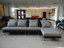 Hom furniture stainless steel legs leather frame sectional fabric sofa