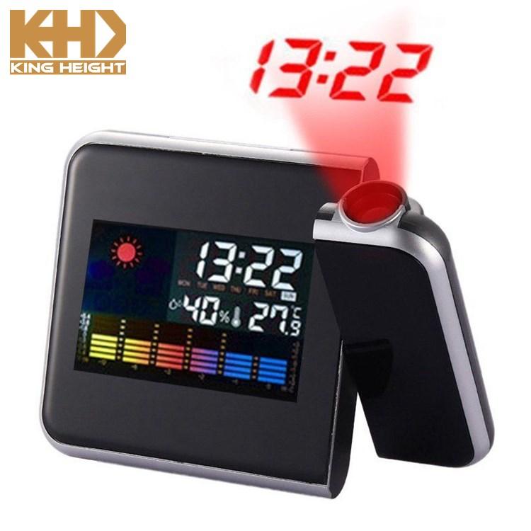 KH-CL002 KING HEIGHT ตาราง LED ไฟพื้นหลังแบบตั้งโต๊ะสีสันสดใสนาฬิกาดิจิตอลโปรเจคชั่นนาฬิกาปลุกสถานีอากาศ