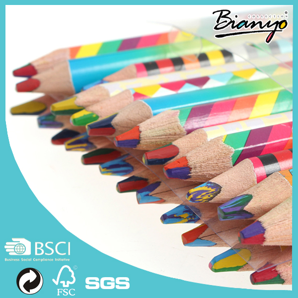 24pcs/Lot Rainbow Color Pencil 4 in 1 Colored Pencils for Drawing Stationery Drawing Office Material School Supplies