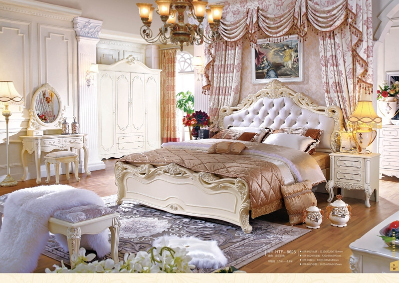 Hand Carved Antique Wooden Bedroom Sets White Classical French Furniture Bu