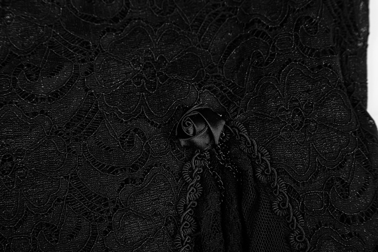 Wq-344 Gothic Sexy Women Black Roses Lace Long Fishtail