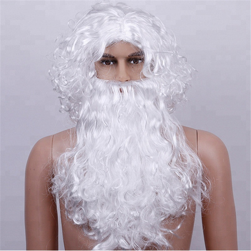 f0d1eaea8f4 Hot factory Christmas cosplay white lace front yak hair santa claus cos wigs  and beard moustache mustache set