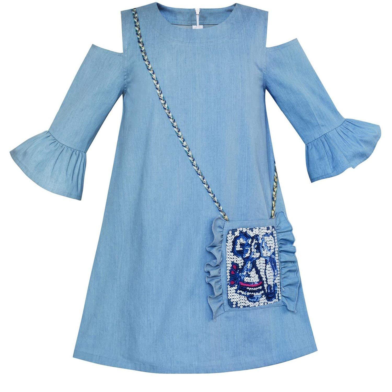 Gouache Girls Dress Denim Blue Cowboy 3/4 Sleeve Cotton Princess Wedding Party Dresses Kids Clothes