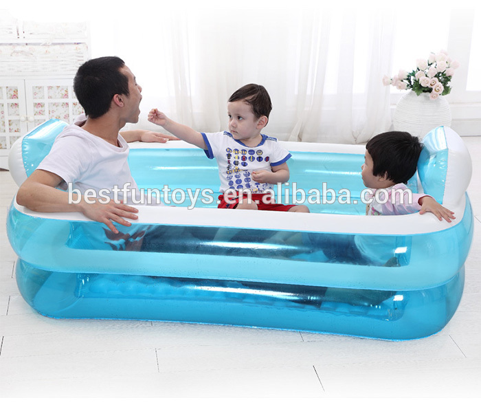 Inflatable adult bathtub rectangular bath tub air portable bathtub for adults plastic