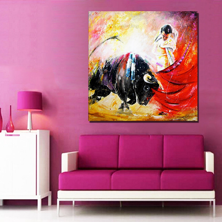 Modern Painting Canvas Basketball Wall Pictures Home Decor: Hand Painted Oil Painting On Canvas Spain Pictures Modern