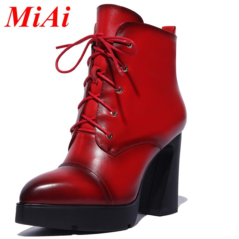 woman ankle boots genuine leather pointed toe woman autumn winter boots high heels fashion black red boots zipper riding boots