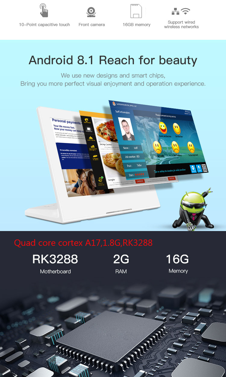 Desktop Android Tablet Pc 10 Inch Nfc Android 8.1 Poe Kiosk/Feedback Tablet Met Rs232/Rs485