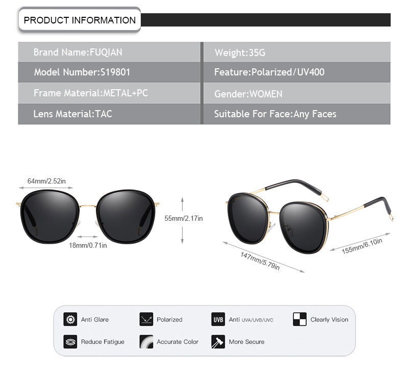 Fuqian polarized glasses meaning customized for lady-9