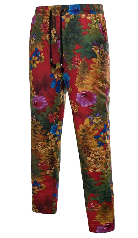 Jofemuho Men's Drawstring Casual Loose Drawstring Floral Print Pants Trousers