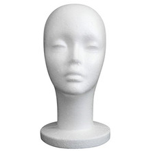 Mannequin Head, Female Styrofoam Mannequin Manikin Head Model Foam Wig Hair Glasses Display
