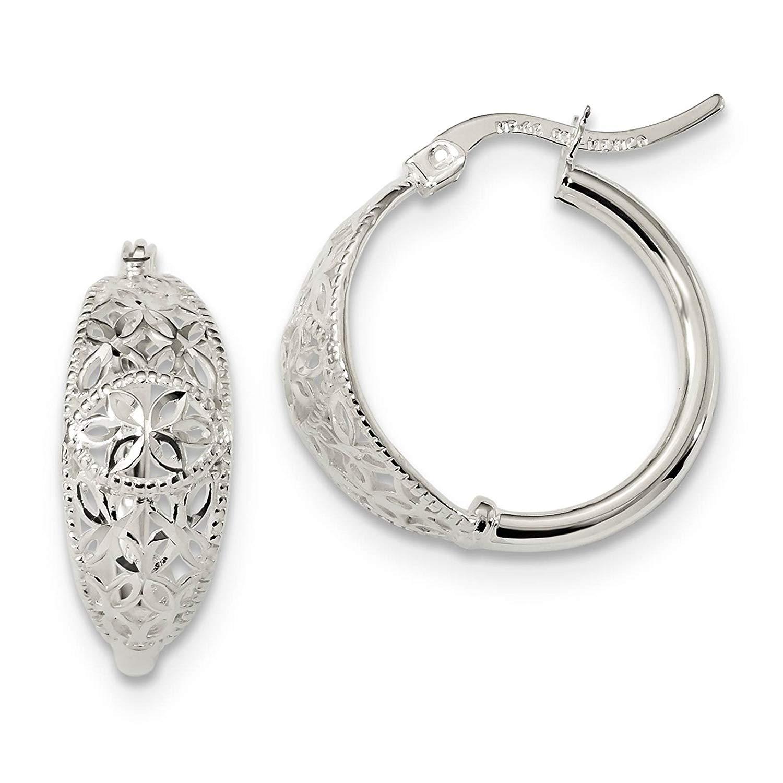 .925 Sterling Silver Polished & Diamond-cut Open Flower Hoop Earrings