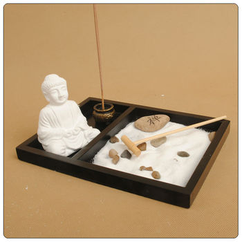 Asian japanese feng shui sand zen garden ceramic buddha for Statue jardin zen