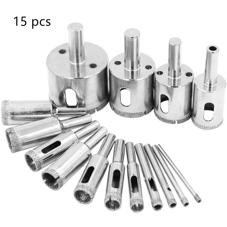 Diamond Drill Bits, Kyerivs Diamond Coated Core Hole Saw Drill Bit Set Extractor Remover Tools for Glass, Ceramics, Porcelain, Cermic Tile 6-50mm 15 PCS