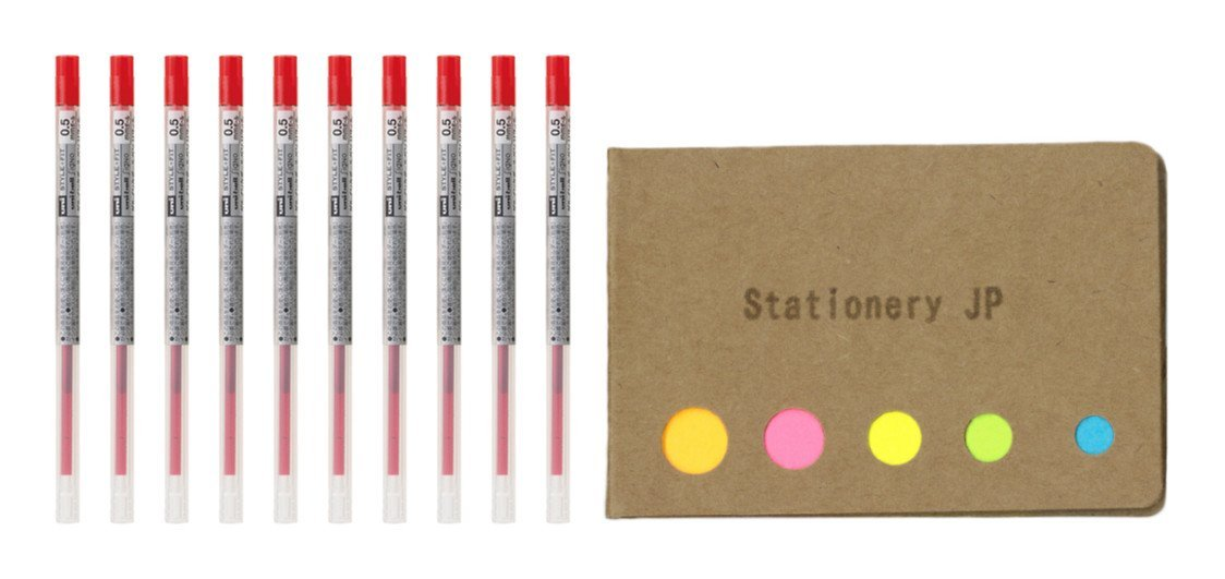 Uni-ball Signo Gel Ink Refills for Uni Style Fit Gel Multi Pen 0.5mm Red Ink, 10-pack, Sticky Notes Value Set
