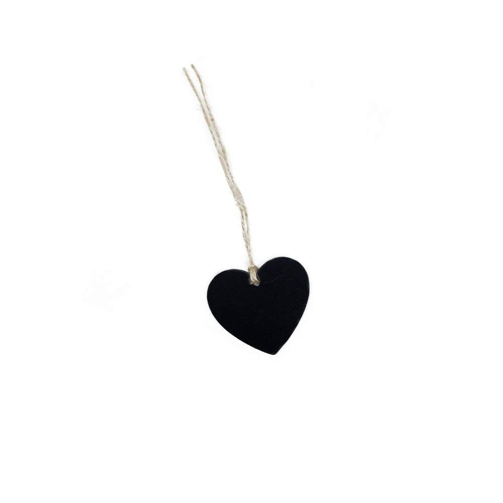 Qinlee 10Pcs Mini Chalkboards Signs Hanging Blackboard Pendant Heart Shape Message Board Double Sided for Weddings, Parties,Crafts,Garden Favors Storage Labeling Tags