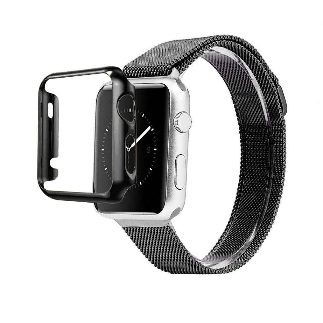 Elevin(TM) IWatch 42mm Smart Watch,Stainless Steel Strap Watch Band+Adapter+Case Cover (Black )