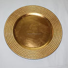 NEW PRODUCT hotel restaurant wedding Gold Silver rim beaded plastic charger plate