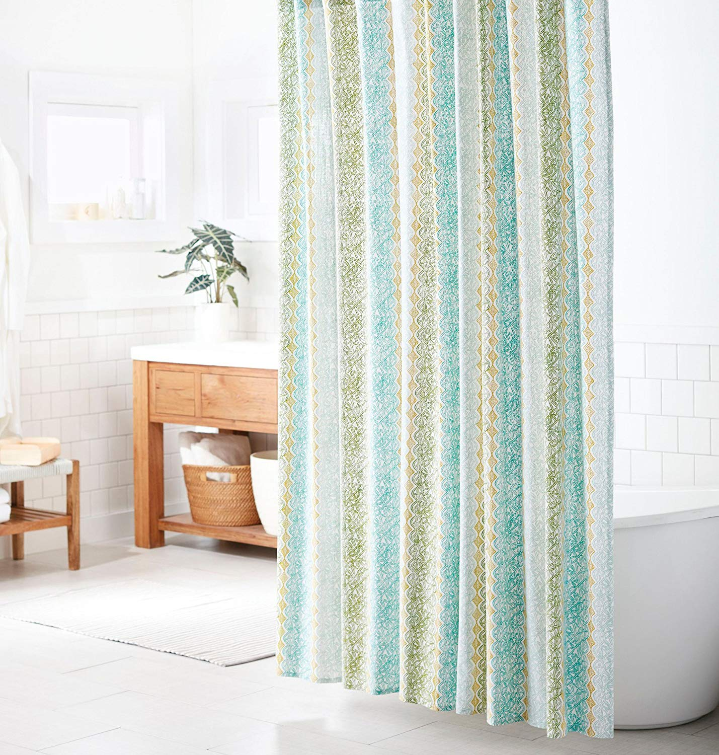 Get Quotations Threshold Vertical Print Shower Curtain Green Tan