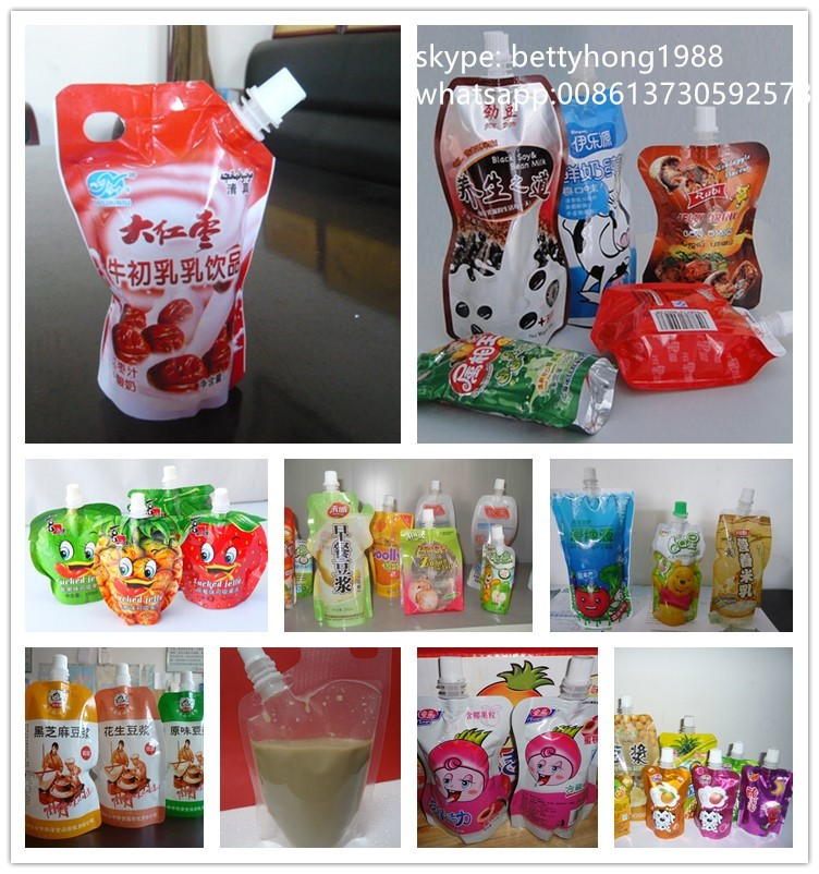 printing doypack spout packing bag for liquid body lotion