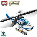 GUDI Police Helicopter Blocks for Children Model Building Kits Small Particles Assembled Ariplane Blocks Toys Christmas