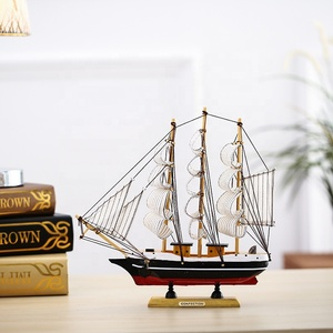 Mettle New Style Length 30CM Classical Antique Big Size Wooden Handmade Sailboat Model For Bar Decoration