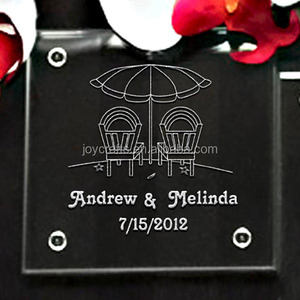 Wedding Favors Return Gift Beach Chairs Personalized Glass Coaster