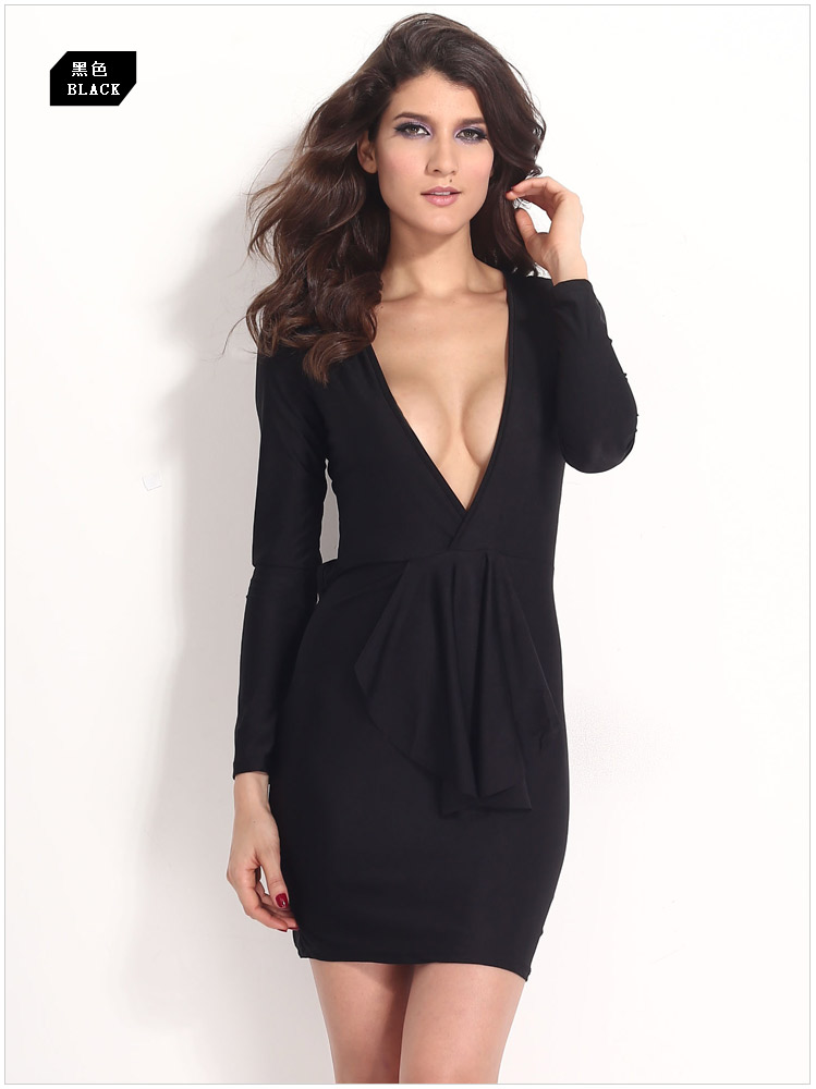 Women Sexy Low V-neck long sleeve Dress Ruffles Black ,blue Bodycon Dress Party Club Woman Dress 2014 Autumn Winter