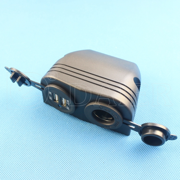2 Ports USB Female Car Cigarette Lighter Socket Power Socket With Cover And Standard Nut