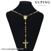 43207 xuping Wholesale Trendy Yellow Gold Plated crucifix cross long nacklace