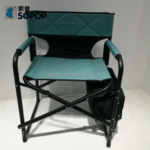 custom color metal travelling foldable director chair with folding tray