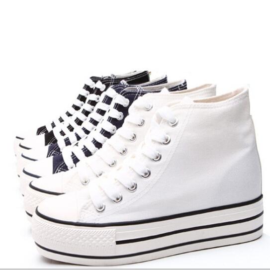 d96eb09321 Buy Women Shoes New Heavy Bottomed Wedge Sneakers Women High Ttop Women  Sneakers Casual Platform Canvas Shoes Women EU 35-39 GOGO in Cheap Price on  ...
