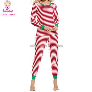 100 cotton red white stripe women sleepwear set wholesale matching family adult christmas pajamas - Christmas Pajamas Women